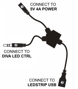 Connection to power and Diva using Y cable